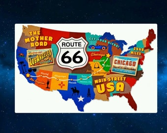 Fun Route 66 Map of America Fridge Magnet. The Mother Road. Americana, USA