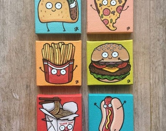 "6-Pack Custom Cartoon Food Paintings / Happy Food / Collectibles / Gifts / Miniature Painting / Cute / Cartoon / Food Painting (2"" x 2"")"