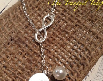 Pearl and Initial Infinity Necklace - Brides Maid Gift - Hand Stamped Jewelry - Wedding Party Gift