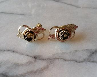 Vintage Gold Flower with Rhinestone Screw On Earrings
