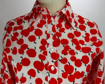 Vintage 1980s Halston VI Blouse with Great Apple Print-modern size 4/6