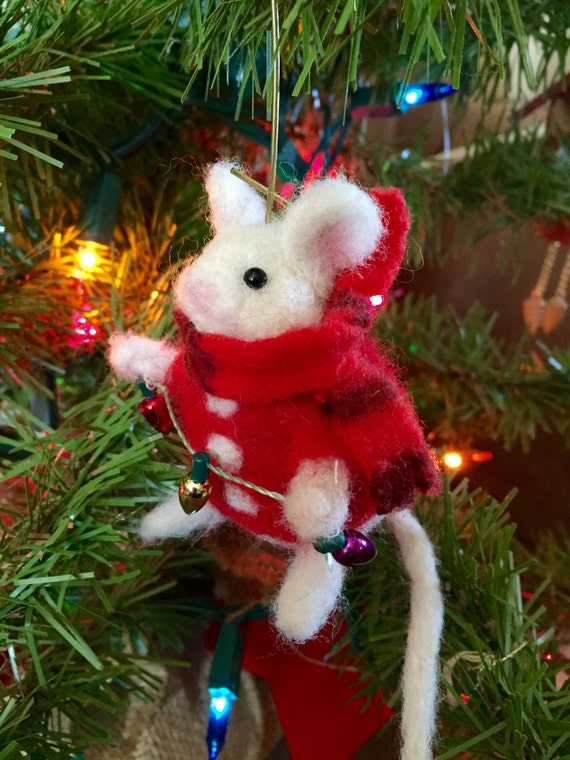 neeedle felted wool mouse christmas ornament