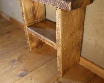 New Handmade Rough Sawn Rustic Waxed Bed side Table lamp
