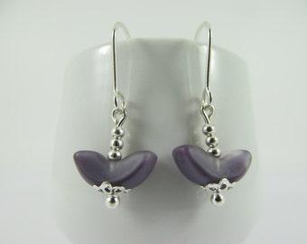 Lavender Angel Wing Vintage Bead Drop Earrings