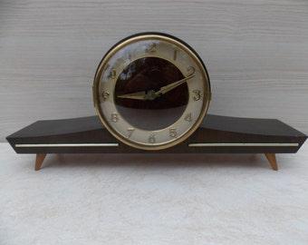 Table clock, germany clock, working mechanical wooden clock, home decor, Art deco clock, large clock, gift idea, wood clock