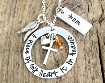 A Piece Of My Heart Is In Heaven Memorial Jewelry, Loss Of Loved One Sympathy Gift, Mom Dad Husband Child Remembrance Necklace