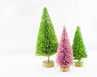 Green and Pink Glitter Bottlebrush Trees Set 3 Holiday Decor Christmas Decoration Hand Dyed Lime Fairy Garden