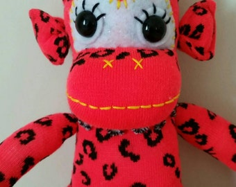 Sock monkey fluro red/orange with leopard print, soft toys, year of the Monkey, Australian handmade