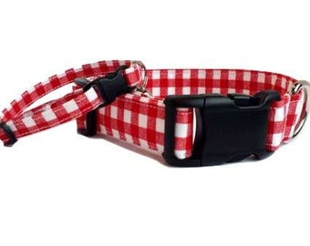Red Gingham Dog Collar Summer Fabric Picnic Checker plaid Adjustable with Buckle & D Ring XS Mini Puppy Small Medium Extra Large XL