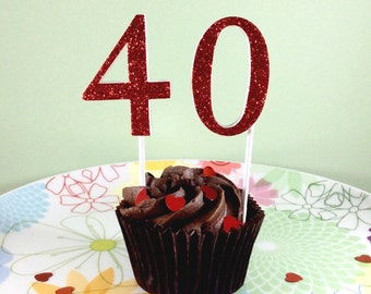 40 glitter number cake topper - Ruby Wedding anniversary decorations - 40th birthday cake - available in red, black, gold, silver and more!