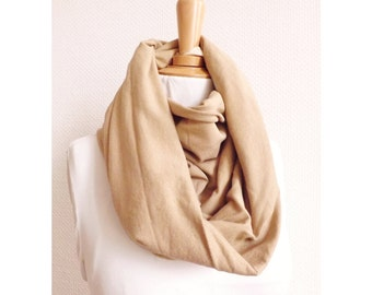 100% MADE IN FRANCE - beige and glitters Infinity scarf , women scarf, french fabric, tube, handmade, gift, christmas, breastfeeding