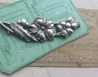 Antiqued silver  brass floral flourish 1 pc