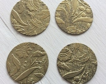 "Raw brass embossed floral charms 1"" 4 pc"