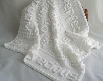 Crochet Baby Blanket / Cot Blanket / Crib Blanket / Shawl / Afghan / Precious Words Cot Blanket / Large Baby Blanket.