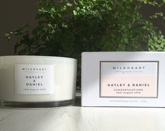Wedding Candle - Personalised Soy Aromatherapy Candle for Brides