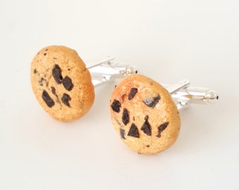 Miniature Food Chocolate Chips Cookies Cufflinks