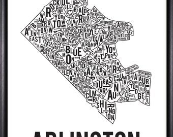 Arlington Virginia Neighborhood Typography Print