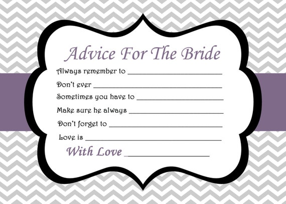 It is an image of Clean Free Printable Bridal Shower Advice Cards