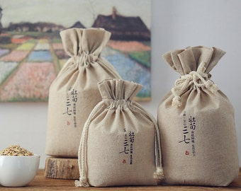 Personalize Whole grains Cereals bag Custom brand printed bag drawstring cotton linen reusable pouch-xyhk41