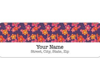 120 Printed Return Address Labels or Digital File - Label M0092 : Japanese Flower Return Address Labels