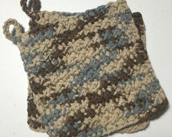 Cotton Crocheted Hot Pads / Pot Holders Set of 2