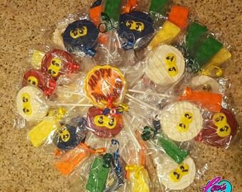 Ninja and Building Block Chocolate Lollipops