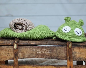 Newborn Photo Prop Baby Set, Baby Snail Costumе, Green Baby Cosume, Sleeping Snail, Baby First Photo Shoot