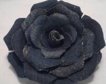 Stiff Denim Rose 4 inches