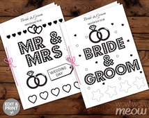 WEDDING COLORING Book Kid Activity Children's Page Sheets Mr & Mrs Booklet Printable Personalize Kid's Print at Home Color in EDITABLE Favor