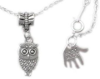 little owl necklace, silver necklace, silver owl necklace, tiny owl, small owl, little owl, bird necklace, bird pendant, silver bird, UK