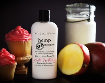 Organic Hemp Lotion / Organic Lotion/ Organic Skin Care / Vegan Lotion / Hemp Lotion / Pink Frosting Lotion / Scented Lotion / Skin Care