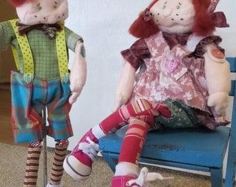 Hand made Raggedy Dolls