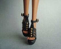 "Fashion Royalty 12"" shoes Wedges black"
