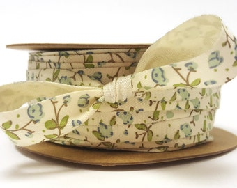 Delicate Blue Floral Print on 18mm Ivory Soft Cotton Ribbon *Sold Per Metre*
