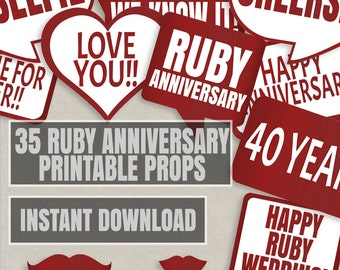 35 Ruby Anniversary Props, 40th Anniversary props, Wedding Printable props, photo booth diy printable props, ruby red anniversary party
