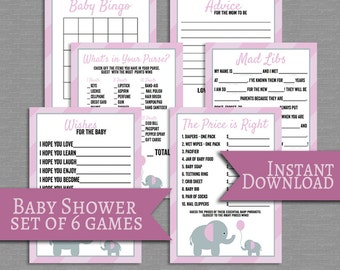 Pink Baby Shower printable games set of 6, pink elephant design, girl baby shower, elephant theme babyshower games baby mad libs, baby bingo
