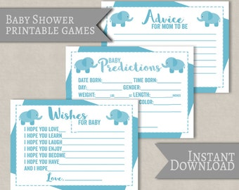 Blue Baby Shower Printable Games, Blue boy, Elephant theme, baby shower prediction cards, printable games for baby showers, instant