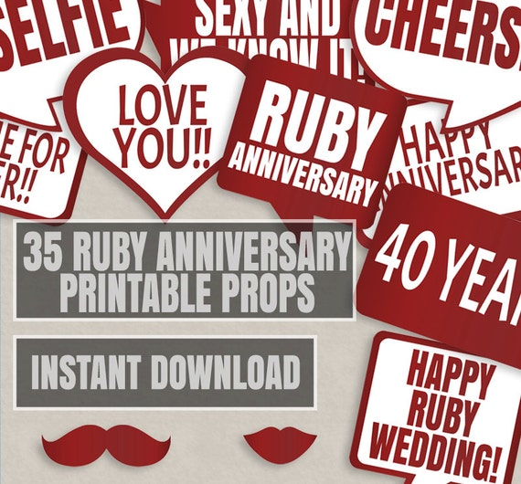 35 Wedding Anniversary Gifts For Parents: 35 Ruby Anniversary Props 40th Anniversary Props Wedding