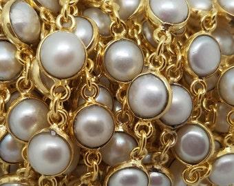 CLEARANCE SALE!  6mm Fresh Water Pearl Tiff, Brass w/Gold Bezel Chain