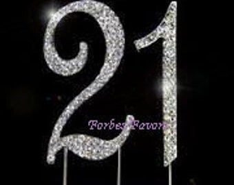 Large Sparkling Silver Rhinestone 21st - 12th Happy Birthday Cake Topper by Forbes Favors