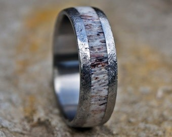 Natural deer antler stainless steel ring