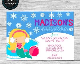 Mermaid Winter Pool Party Invitation
