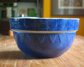 Large Vintage Blue Clay City Pottery Stoneware Mixing Bowl Batter Bowl Indiana Pottery