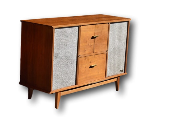 The Fisher Mid Century Turntable Stereo Console By
