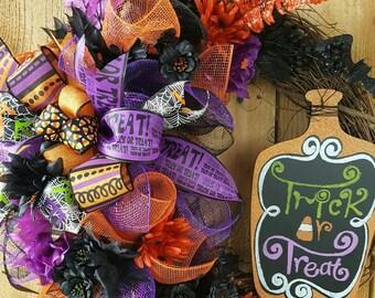"Halloween ""Trick or Treat"" Grapevine Mesh Wreath-Halloween Mesh Door Wreath-Candy Corn Wreath-Halloween Floral Wreath-Halloween Wreath-SCARY"