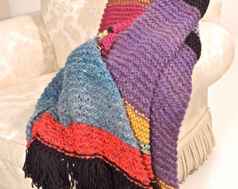 Multi coloured, multi yarn, fabulously fun throw!