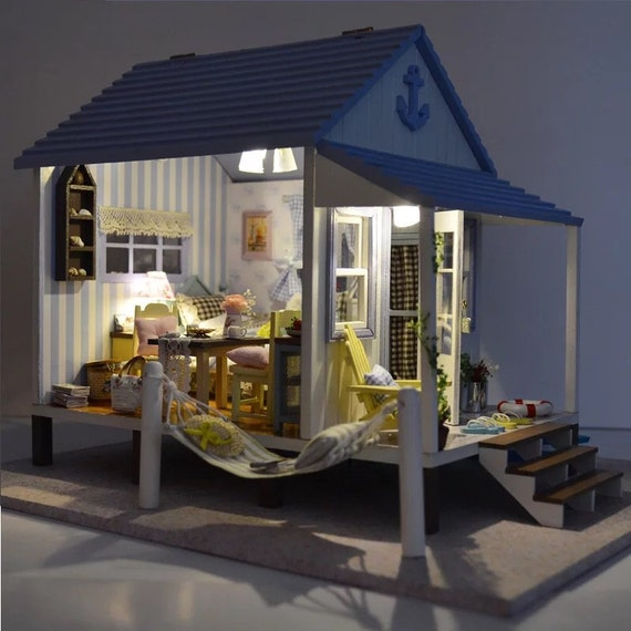 diy miniature dollhouse kit beach house gift dollhouse by. Black Bedroom Furniture Sets. Home Design Ideas