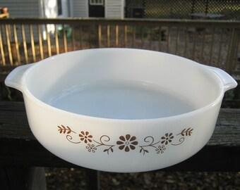 Pyr-O-Rey Ovenware, Vintage Dynaware, Brown Floral Daisy Flower On Milk Glass, Casserole,