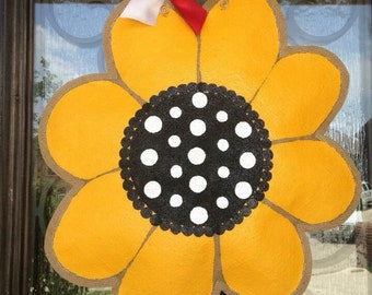 Hand-Painted Burlap Black-Eyed Susan or Sunflower Door Hanger