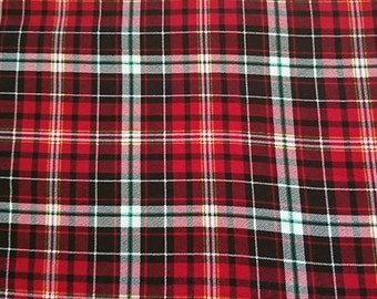 "Flannel red plaid fabric, 100cm (1 m) (39 "")"